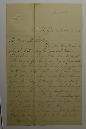 Letters from V W Brokaw  to CB Stebbins Michigan Depart of Public Instruction 1870s & 80s