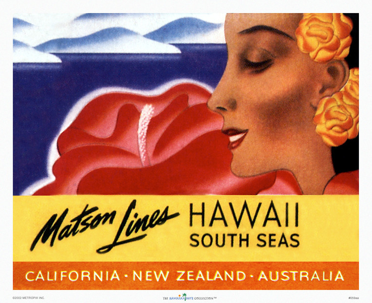 059: Well-known Ocean Navigation Company's Hawaii South Seas Luggage Label. Ca 1946.