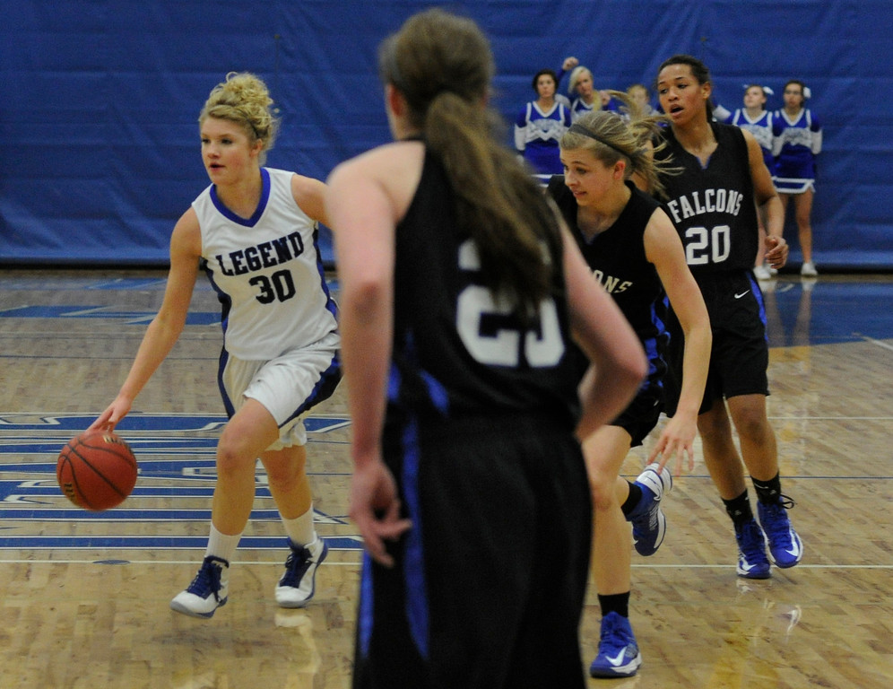 . PARKER, CO. - FEBRUARY 15: Legend forward Amanda Benglen (30) looked for an opening in the first half. The Legend High School girls\'s basketball team hosted Highlands Ranch Friday night, February 15, 2013. (Photo By Karl Gehring/The Denver Post)