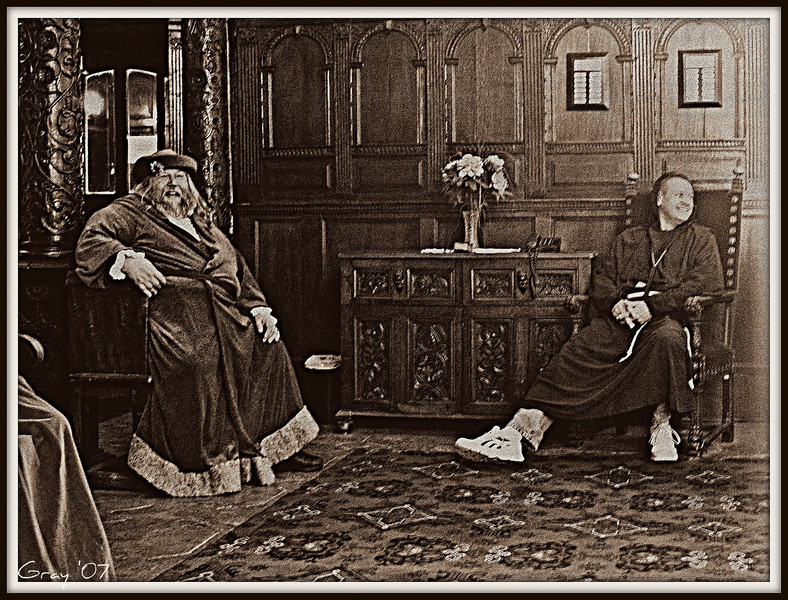 Wroxton Abbey, 1620  The Abbot and the Wizard relax after a particularly taxing exorcism