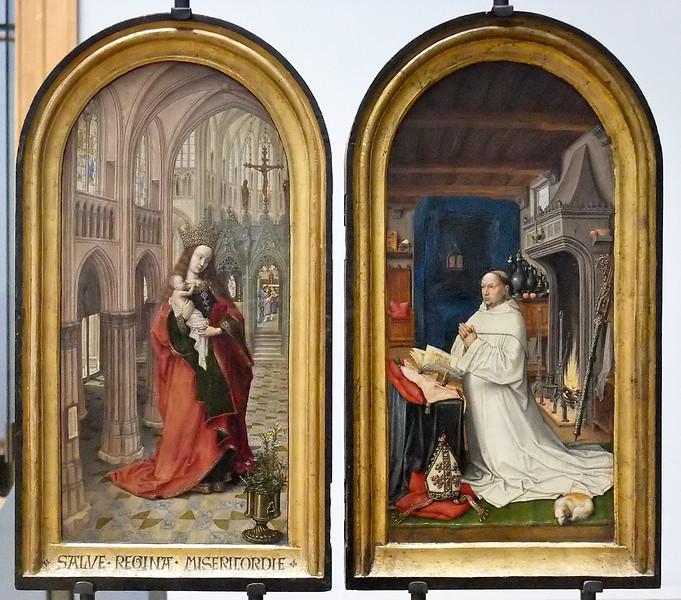 Brügger Meister von 1499: Diptychon des Abts Christiaan de Hondt; nach Jan van Eycks Madonna in der Kirche (Antwerpen, Museum der Schönen Künste)