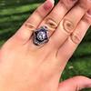 2.27ct (est) Art Deco Old European Cut Diamond with Amethyst Halo Ring 10