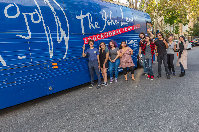 2017_10_06, Grover Cleveland High School, NY, Ridgewood, Gabe Smith, Canon, bus exterior, Students, peace signs