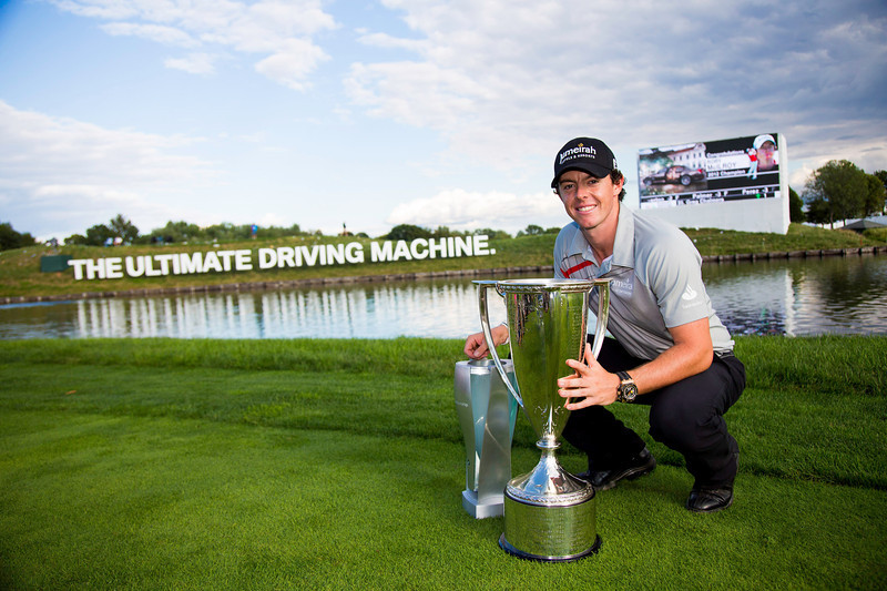 Rory Mciiroy poses with the BMW Trophy (left) and the (Wadley Trophy) after winning the 2012 BMW Championship at Crooked Stick Golf Course in Carmel Indiana on Sunday Sept. 9, 2012 (Charles Cherney/WGA)