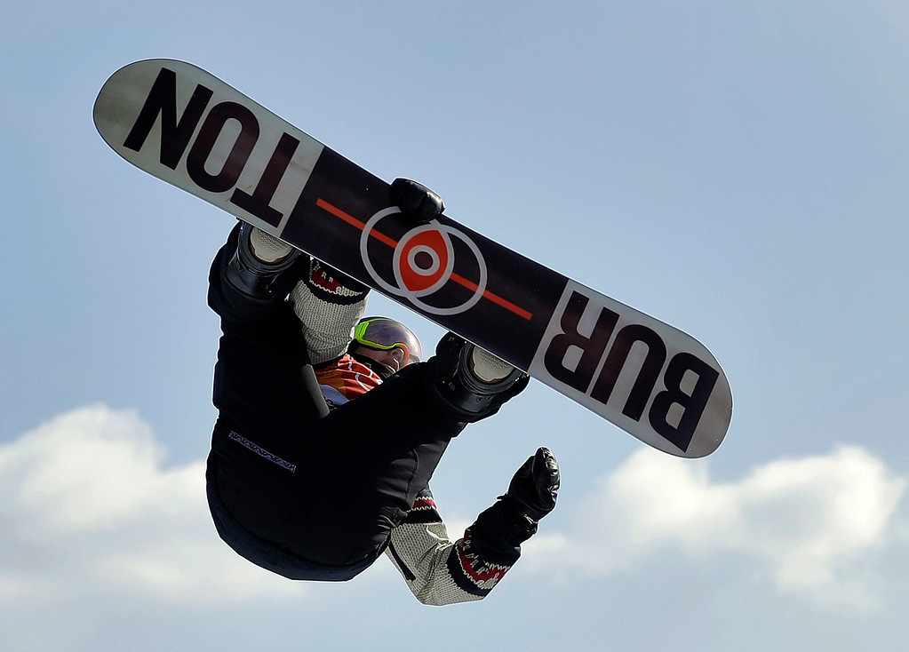 . Mark McMorris, of Canada, jumps during the men\'s slopestyle final at Phoenix Snow Park at the 2018 Winter Olympics in Pyeongchang, South Korea, Sunday, Feb. 11, 2018. (AP Photo/Gregory Bull)
