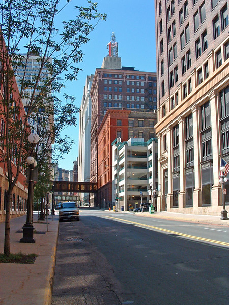 Looking up 4th St. to First National Bank. It's a Saturday morning in late August. Notice the downtown traffic.
