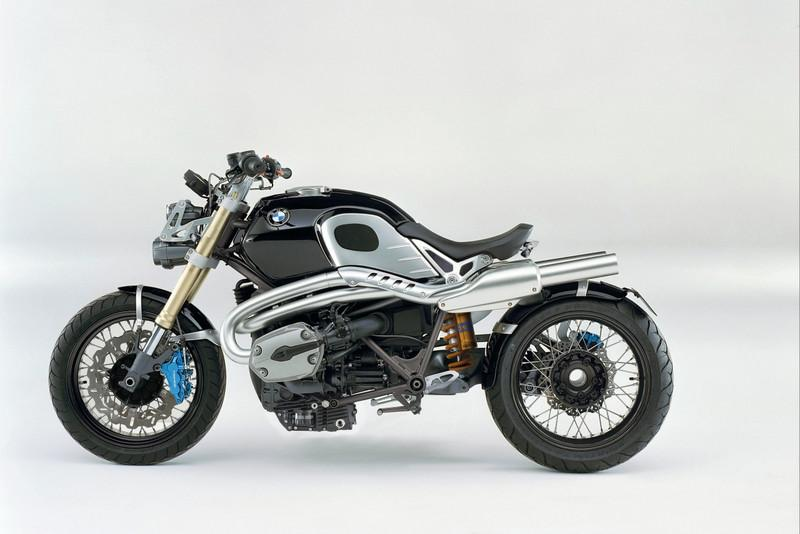 This great looking bike, which is supposed to be a BMW concept bike, has just been unveiled at the Milan show (Nov 2008). But the motorcycle looks so finished it could go into production within 18 months. Dubbed the Lo Rider, the bike takes the 1200cc Boxer twin from the existing BMW line-up, adds some spoked wheels, traditional forks, wavy discs and a new set of lights and a one-off exhaust system for this very cool look. Quote from www.motorcyclenews.com