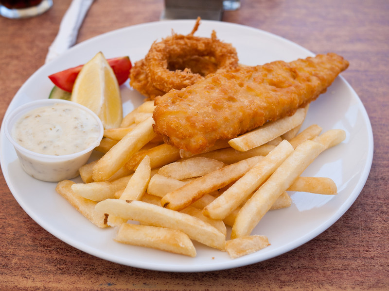 Fish and Chips, including Calamari rings from a restaurant/cafe at The Corso in Manly.  The Calamari rings were really good!