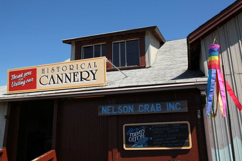 The historical Nelson Crab Company in Tokeland, WA sells live and canned crab and salmon.