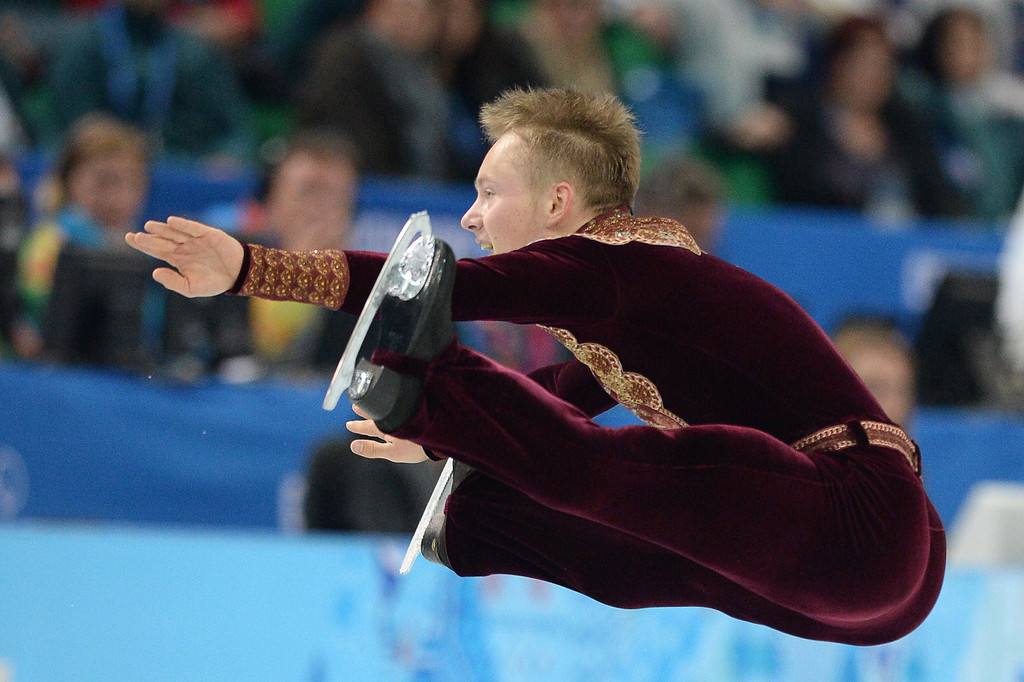 . Sweden\'s Alexander Majorov performs during the Men\'s Figure Skating Short Program at the Iceberg Skating Palace during the Sochi Winter Olympics on February 13, 2014.  YURI KADOBNOV/AFP/Getty Images