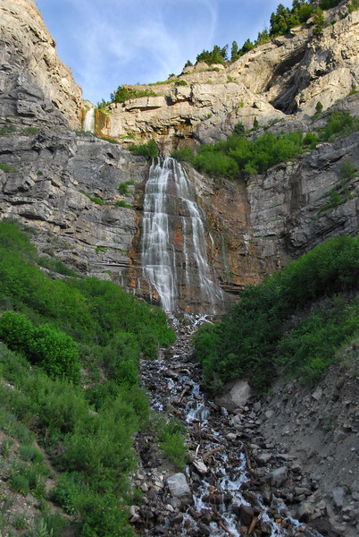 6/11/07 – This evening I convinced Lisa to go on a bike ride with me. We started at the mouth of Provo Canyon and rode up the Parkway Trail past Bridal Veil Falls. The ride was a little over an hour and 11 miles. It was a wonderful evening for a bike ride. This is Bridal Veil Falls just before sunset. If you look carefully at the picture you'll see three people left of the falls just above center of the photo. If you can see them it puts the falls into scale.