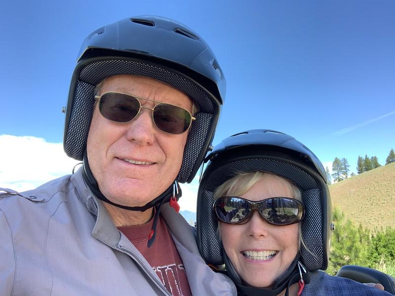 Boomer couple wearing helmets
