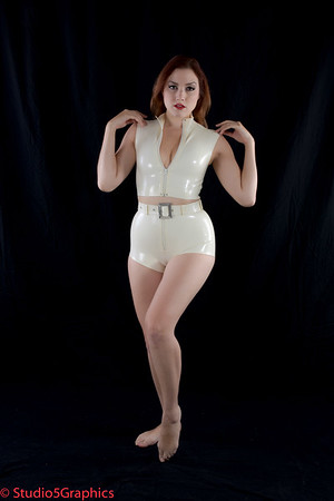 Porcelain White Latex Jump Suit