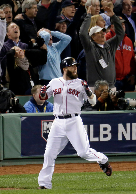 . Boston Red Sox\'s Dustin Pedroia   watches his long foul ball off Detroit Tigers starting pitcher Max Scherzer in the third inning during Game 6 of the American League baseball championship series on Saturday, Oct. 19, 2013, in Boston. (AP Photo/Charlie Riedel)