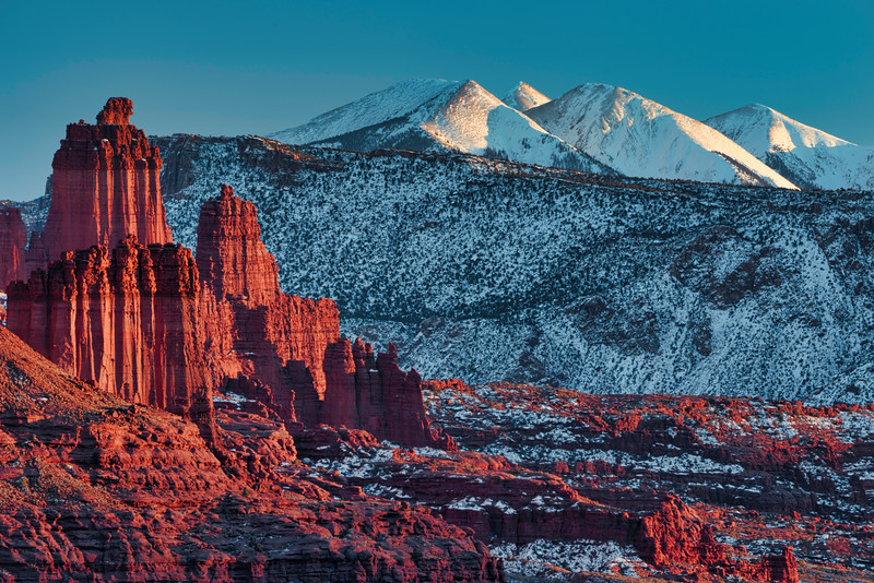 FIsher Towers and La Sal Mountainsfisher towers, sunset,