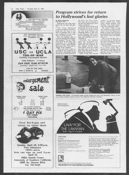 Daily Trojan, Vol. 91, No. 59, April 15, 1982