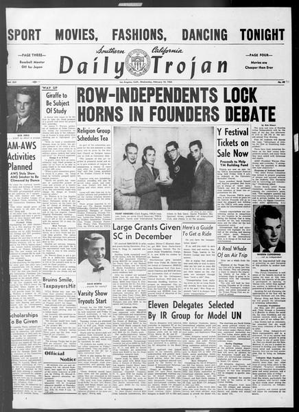 Daily Trojan, Vol. 45, No. 70, February 10, 1954