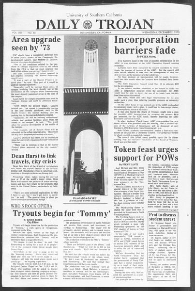 Daily Trojan, Vol. 62, No. 46, December 02, 1970