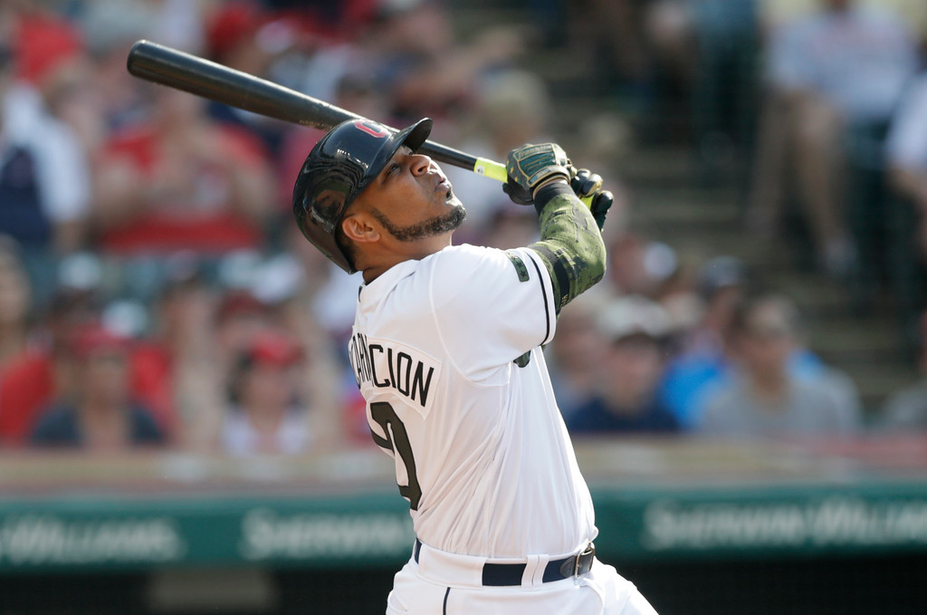 . Cleveland Indians\' Edwin Encarnacion watches his three-run double off Chicago White Sox relief pitcher Chris Volstad in the fifth inning of a baseball game, Monday, May 28, 2018, in Cleveland. Greg Allen, Francisco Lindor and Michael Brantley scored on the play. (AP Photo/Tony Dejak)