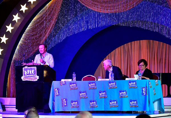 9/6/2019 Mike Orazzi | StaffrDenis House serves as the master of ceremonies during the 138th Annual Crocodile Club Dinner at Lake Compounce on Friday.