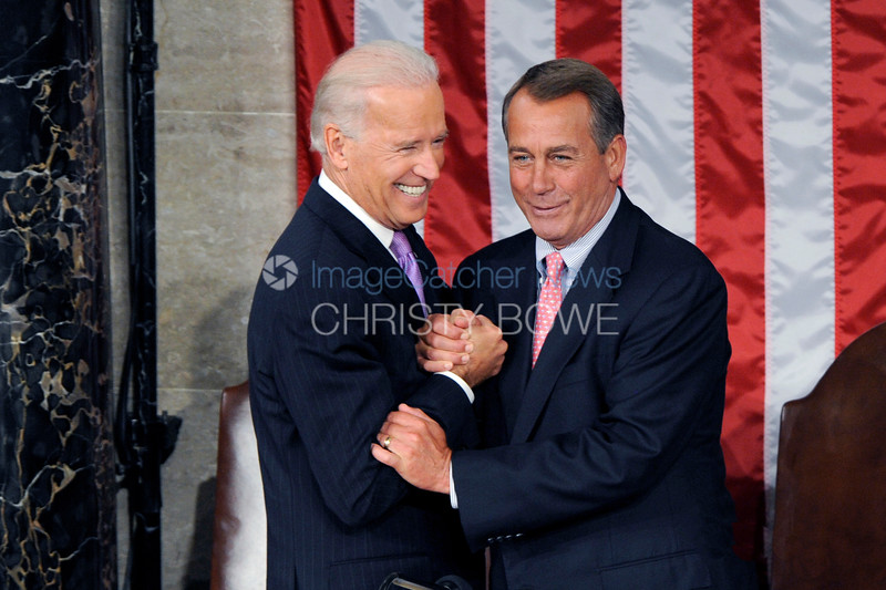 Vice President Joe Biden and Speaker of the House John Boehner share a moment prior to the State of The Union Address.