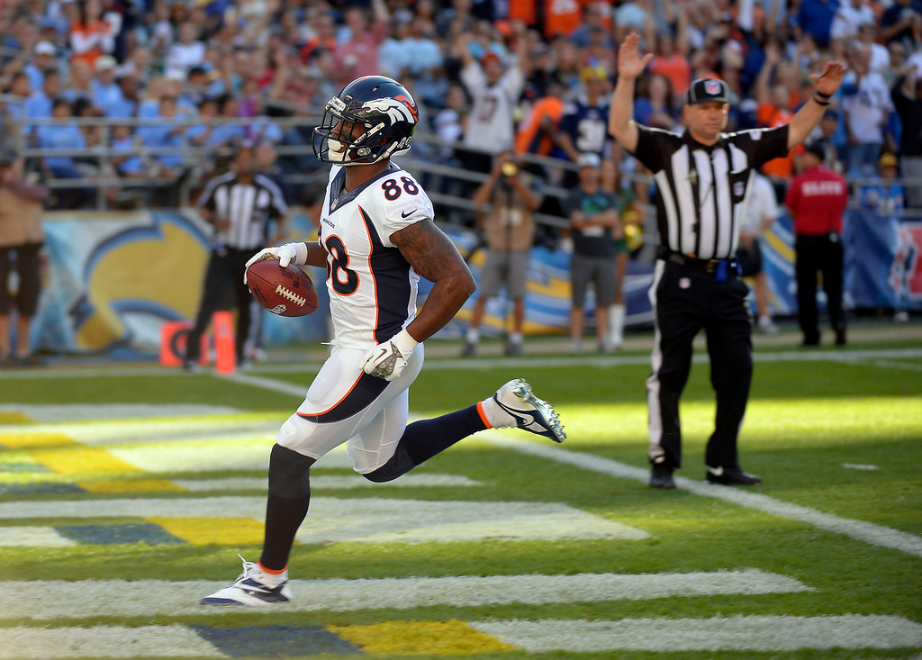 . SAN DIEGO, CA - NOVEMBER 11: Denver Broncos wide receiver Demaryius Thomas (88) gets in the end zone for a touchdown in the third quarter avians the San Diego Chargers at Qualcomm Stadium. (Photo by John Leyba/The Denver Post)