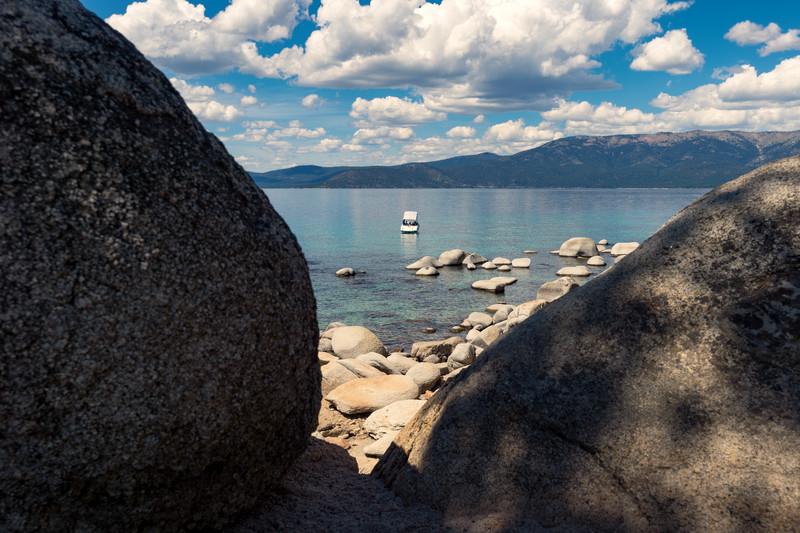 Boat on Lake Tahoe at Chimney Beach