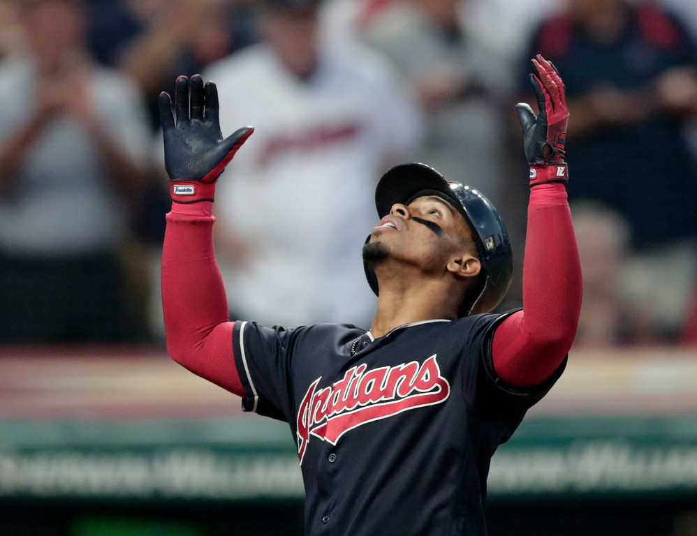 . Cleveland Indians\' Francisco Lindor looks up after hitting a three-run home run off Cincinnati Reds relief pitcher Jackson Stephens during the fourth inning of a baseball game, Wednesday, July 11, 2018, in Cleveland. (AP Photo/Tony Dejak)