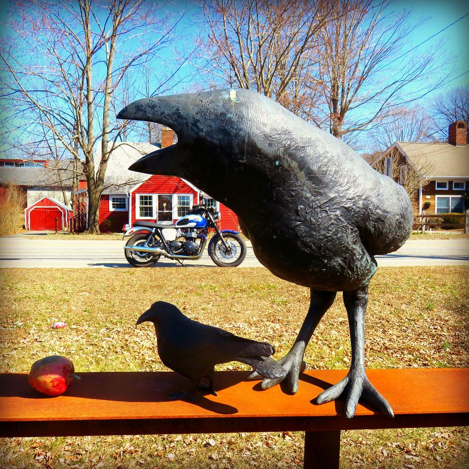 Raven sculpture and Triumph Bonneville