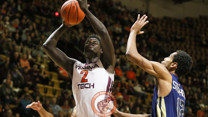 Khadim Sy goes up for a layup underneath the Georgia Tech basket. (Mark Umansky/TheKeyPlay.com)