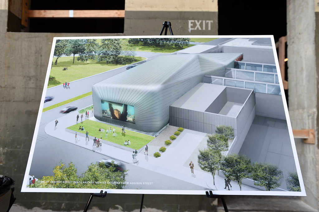 . Renderings of the new building are on display inside of what will be part of the new Berkeley Art Museum/Pacific Film Archive in Berkeley, Calif. on Tuesday, April 30, 2013.  (Kristopher Skinner/Bay Area News Group)