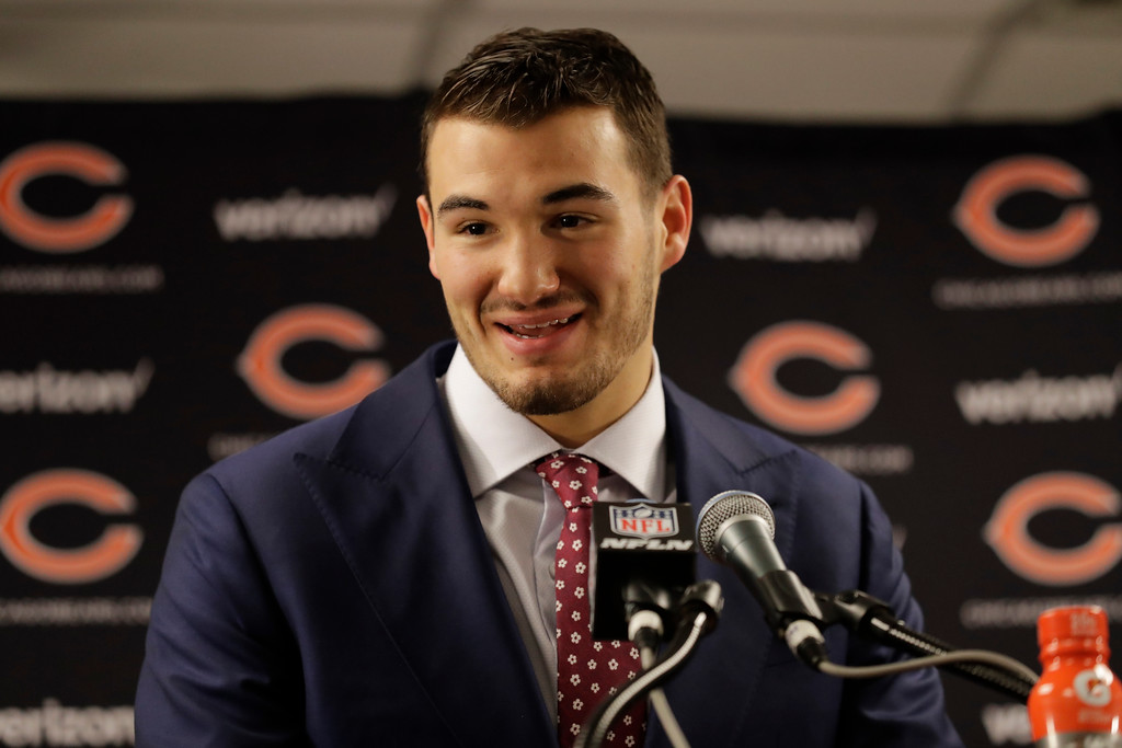 . Chicago Bears quarterback Mitchell Trubisky talks to the media after an NFL football game against the Cleveland Browns in Chicago, Sunday, Dec. 24, 2017. (AP Photo/Nam Y. Huh)