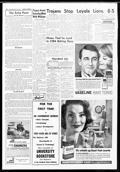 Daily Trojan, Vol. 52, No. 103, April 12, 1961