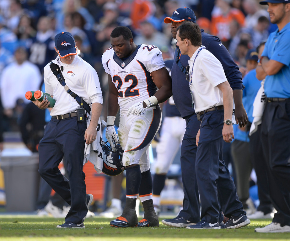 . SAN DIEGO, CA - DECEMBER 14: Denver Broncos running back C.J. Anderson (22) walks off after an injury during the second quarter against the San Diego Chargers December 14, 2014 at Qualcomm Stadium (Photo By John Leyba/The Denver Post)
