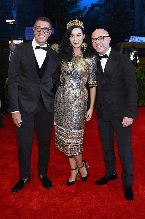 """. Stefano Gabbana, Katy Perry and Domenico Dolce attend the Costume Institute Gala for the \""""PUNK: Chaos to Couture\"""" exhibition at the Metropolitan Museum of Art on May 6, 2013 in New York City.  (Photo by Larry Busacca/Getty Images)"""