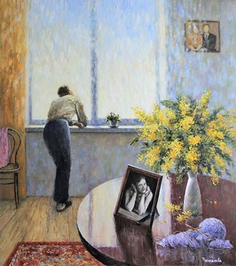 """""""Mimosa for the Wife"""" (oil on canvas) by Tatiana Chepkasova"""