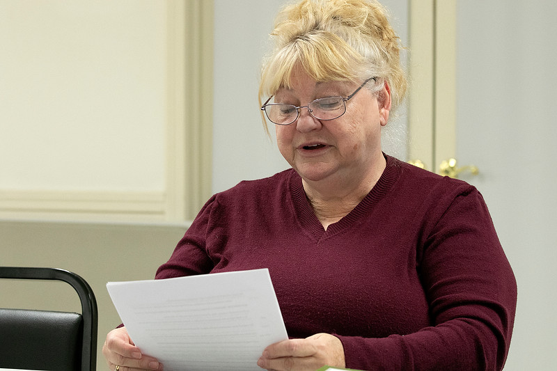 The Leominster Senior Center holds a writing class every Friday afternoon from 1 p.m. to 3 p.m. run by Jane Lonnqvist of Fitchburg. Christine Maynard of Leominster reads her story at their class on Friday, Dec. 27, 2019. SENTINEL & ENTERPRISE/JOHN LOVE