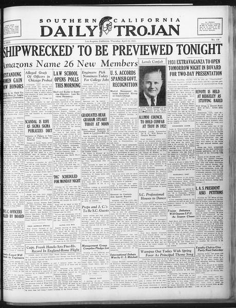 Daily Trojan, Vol. 22, No. 128, April 23, 1931