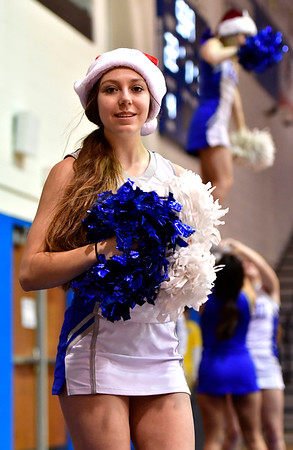 12/7/2019 Mike Orazzi | Staff CCSU Cheerleaders during Saturday's mens basketball game with the University of Maine in New Britain.
