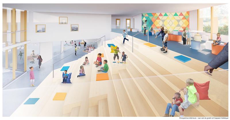 Perspective intérieure vue des gradins - DMA architectes - Lauréat Lab-École - Gatineau