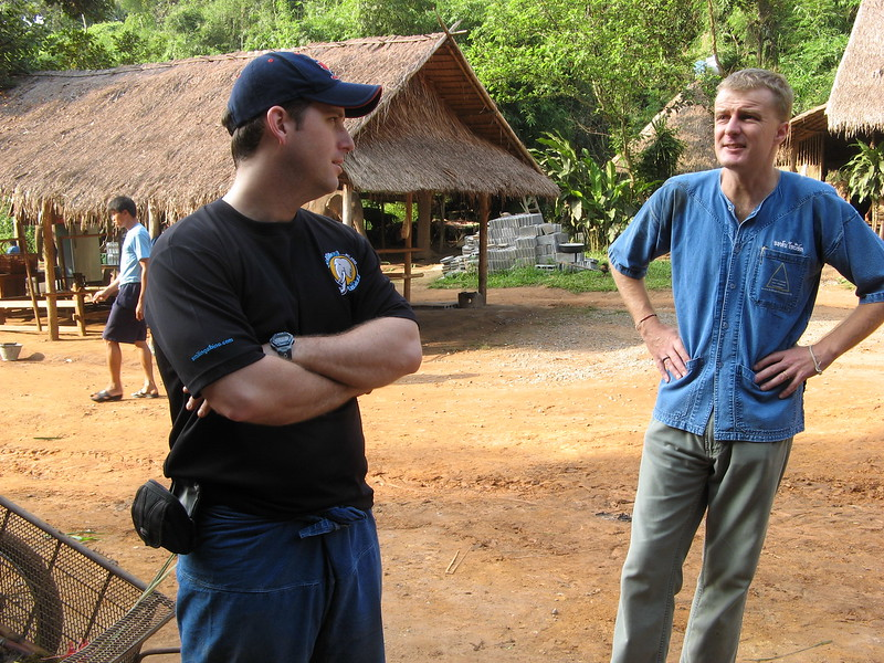 Scott and John, the Director of Elephants, talking about the Anantara's Elephant Rescue Program