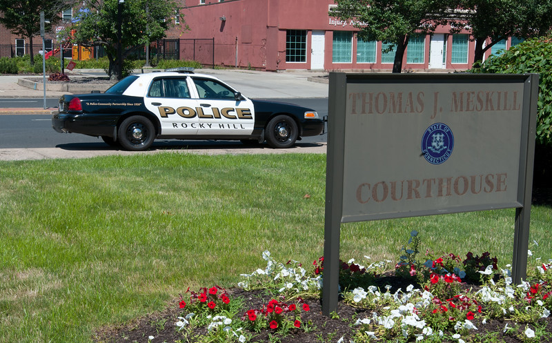07/10/18  Wesley Bunnell | Staff  A Rocky Hill police cruiser sits outside of New Britain Superior Court on Tuesday morning. Former New Britain and current Rocky Hill Police Officer Jacob Boucher appeared at New Britain Superior Court in connection with a June 30 incident in New Britain which resulted in his arrest days later.