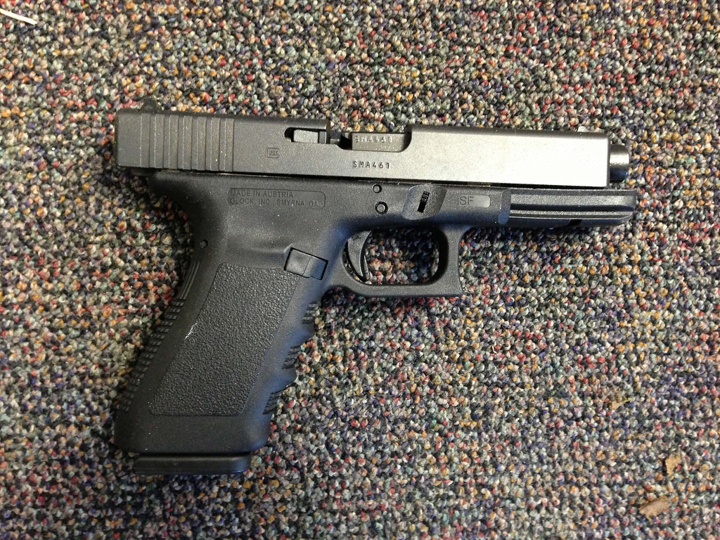 . In this handout crime scene evidence photo provided by the Connecticut State Police, shows a Glock 20, 10mm found near the shooter in Room 10 at Sandy Hook Elementary School following the December 14, 2012 shooting rampage, taken on an unspecified date in Newtown, Connecticut.   (Photo by Connecticut State Police via Getty Images)