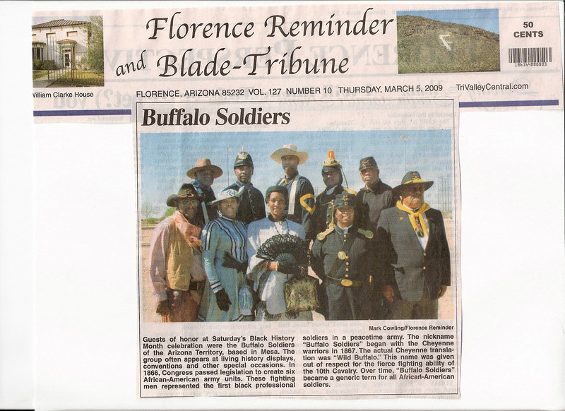 "ARIZONA BUFFALO SOLDIERS, MESA, AZ...Union Baptist Church 56th Anniversary. ""Black History Month"". Florence, Arizona. Buffalo Soldiers of the Arizona Territory - Ladies and Gentlemen. September 26, 2008 and February 28, 2009"