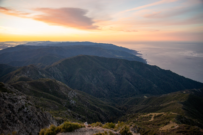 Sunrise above the Pacific from Cone Peak in the Ventana Wilderness near Big Sur.