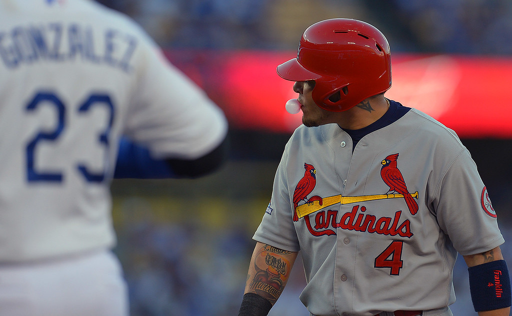 . The Cardinals\' Yadier Molina blows a bubble after walking in the 2nd inning against the Dodgers during  game 4 of the NLCS at Dodger Stadium Tuesday, October 15, 2015.(Photo by Andy Holzman/Los Angeles Daily News)