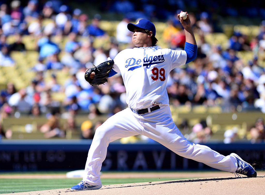 . Dodgers\' pitcher Hyun-Jin #99 pitches to the Rockies at Dodger Stadium during their final game of the regular season Sunday, September 29, 2013. Rockies defeated the Dodgers 2-1. (Photo by Sarah Reingewirtz/Pasadena Star-News)