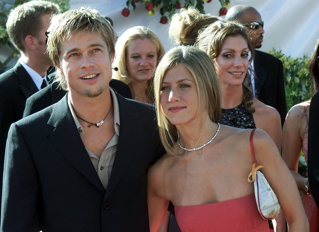 """. Actress Jennifer Aniston nominated for \""""Supporting Actress, Comedy Series\"""" for her role in the comedy \""""Friends\"""" poses with her husband Brad Pitt during the arrivals to the  52nd Annual Primetime Emmy Awards at the Shrine Auditorium in Los Angeles 10 September, 2000.   Scott Nelson/AFP/Getty Images"""