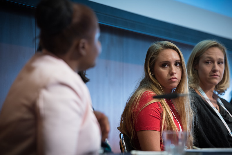 22nd International AIDS Conference (AIDS 2018) Amsterdam, Netherlands   Copyright: Marcus Rose/IAS  Photo shows: The 4th HIV Exposed Uninfected (HEU) Child and Adolescent Workshop. Panel discussion. Alexis Galloway, United States. Stephanie McCann, United States.