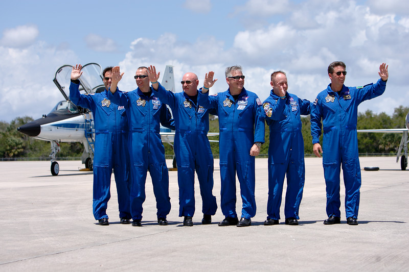 Tuesday, April 26 - Space Shuttle Endeavour's final crew poses for a group photo. The crew, from left to right: Mission Specialist Greg Chamitoff, Mission Specialist Drew Feustel, Commander Mark Kelly (USN), Pilot Greg Johnson (USAF Ret.), Mission Specialist Mike Fincke (USAF), and Mission Specialist Roberto Vittori (IAF).